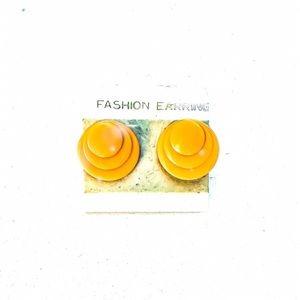 Vintage Deadstock 80's Mustard Yellow Earrings